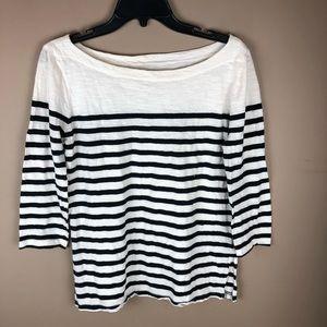 Loft 3/4 Sleeve White & Black Striped Top